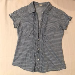 Light blue button up blouse with white polka dots